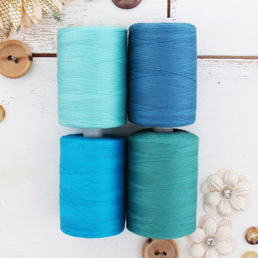 Cotton Quilting Thread Set - 4 Aqua Tones - 1000 Meters - Threadart.com
