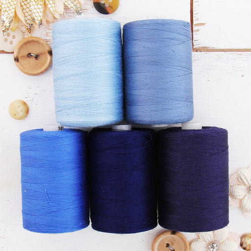 Cotton Quilting Thread Set - 5 Blue Tones - 1000 Meters - Threadart.com