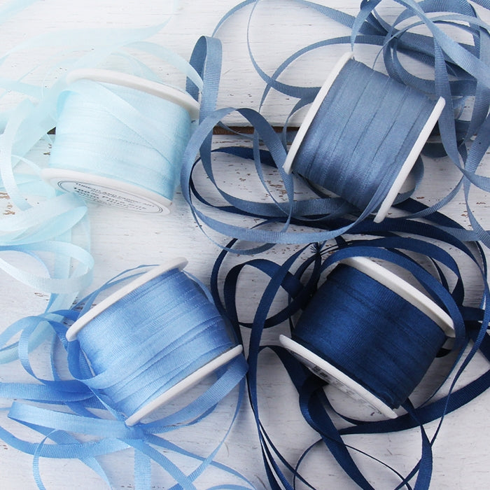 4mm Silk Ribbon Set - Blue Shades - Four Spool Collection - Threadart.com
