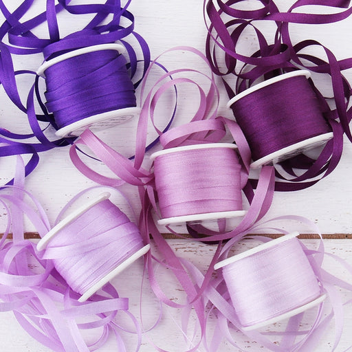 4mm Silk Ribbon Set - Purple Shades - Five Spool Collection - Threadart.com