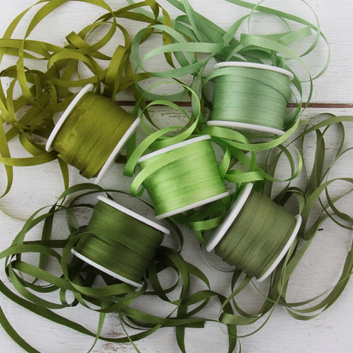 4mm Silk Ribbon Set - Green Shades - Five Spool Collection - Threadart.com