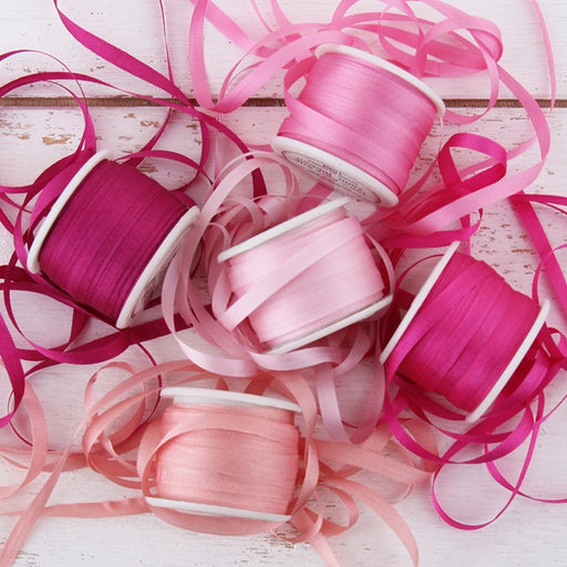 4mm Silk Ribbon Set - Pink Shades - Five Spool Collection - Threadart.com