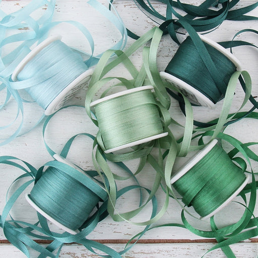 4mm Silk Ribbon Set - Teal Shades - Five Spool Collection - Threadart.com