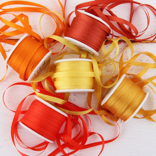 4mm Silk Ribbon Set - Orange Shades - Five Spool Collection - Threadart.com
