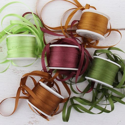 4mm Silk Ribbon Set - Nature Shades - Five Spool Collection - Threadart.com