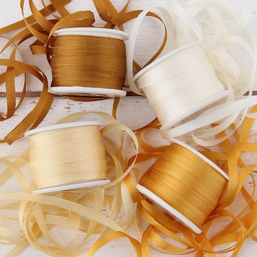 4mm Silk Ribbon Set - Warm Shades - Four Spool Collection - Threadart.com