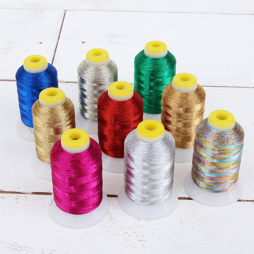 9 Cones of Metallic Thread - 500 Meter Cones - Threadart.com