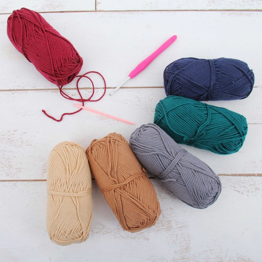 Crochet 100% Pure Cotton Yarn Set  - 6 Pack of Gemstone Colors - Threadart.com