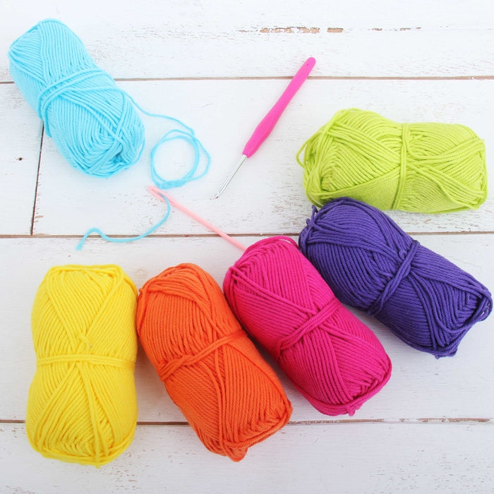 Crochet 100% Pure Cotton Yarn Set  - 6 Pack of Confetti Colors - Threadart.com