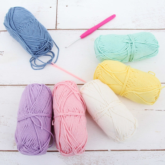 Crochet 100% Pure Cotton Yarn Set  - 6 Pack of Frostings Colors - Threadart.com