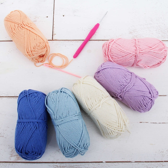 Crochet 100% Pure Cotton Yarn Set  - 6 Pack of Pastel Colors - Threadart.com
