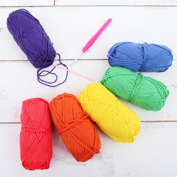 Crochet 100% Pure Cotton Yarn Set  - 6 Pack of Bright Colors - Threadart.com