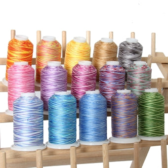 Multicolor Cotton Thread Set - 15 Variegated Spools - 600 Meters - Threadart.com