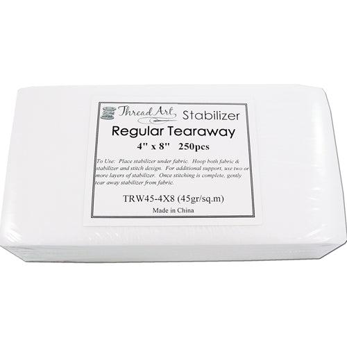 Regular Tearaway Embroidery Backing Stabilizer - 4x8 250 Precut Sheets - Threadart.com