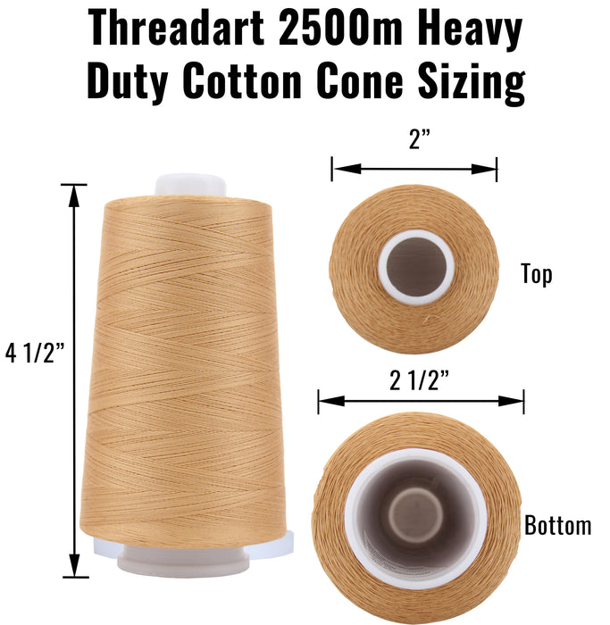 Heavy Duty Cotton Quilting Thread - Lt Beige - 2500 Meters - 40 Wt. - Threadart.com