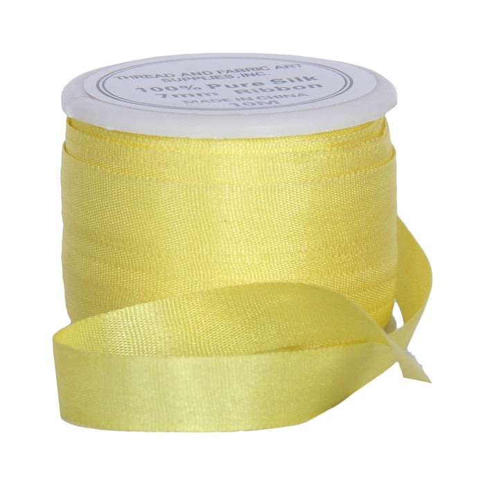 Silk Ribbon 7mm Yellow x 10 Meters No. 656 - Threadart.com