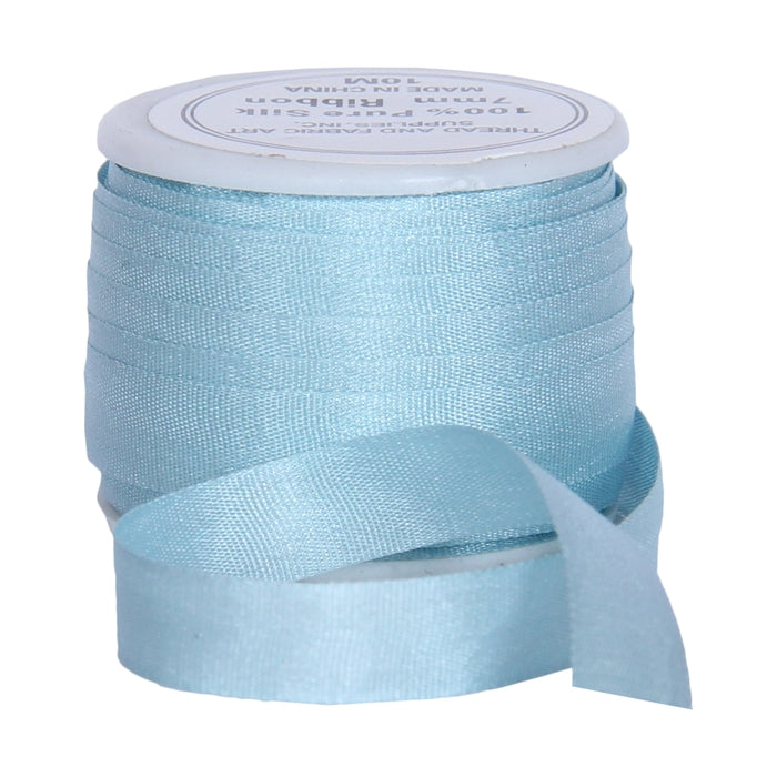 Silk Ribbon 7mm Lt Teal x 10 Meters No. 607 - Threadart.com