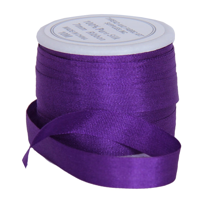 Silk Ribbon 7mm Purple x 10 Meters No. 703 - Threadart.com