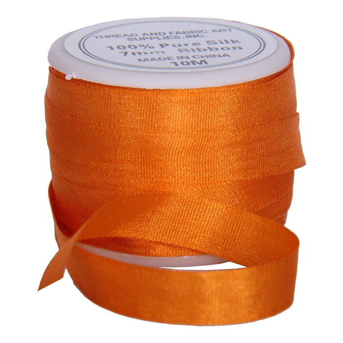 Silk Ribbon 7mm Orange x 10 Meters No. 705 - Threadart.com