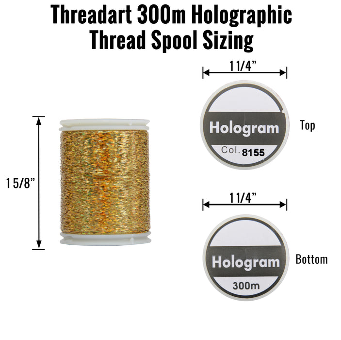 Sparkle Holographic Thread - 300 Meters - Green - Threadart.com