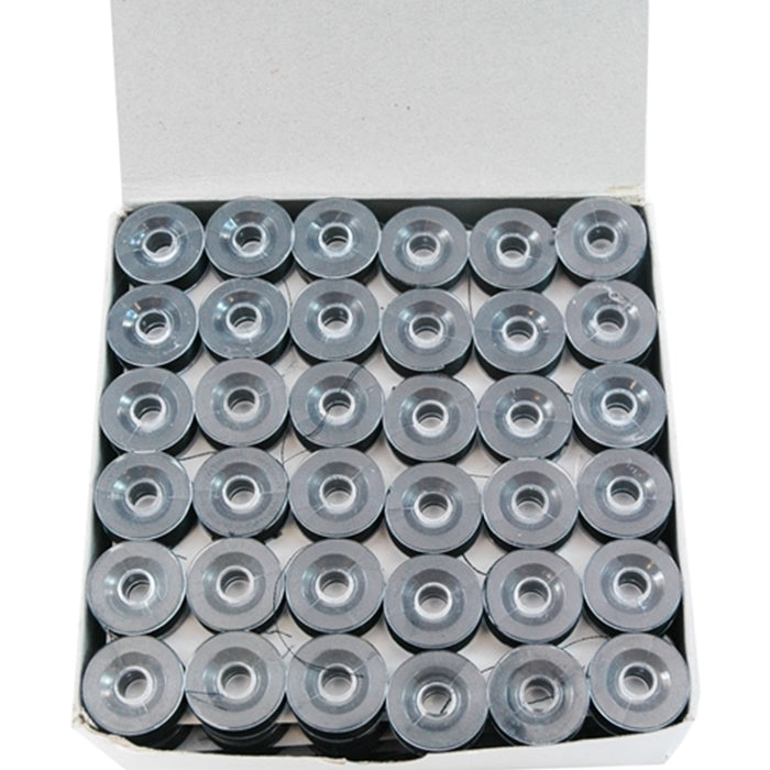 Prewound Embroidery Bobbins - 144 Count Per Box - Black Plastic Sided - L Style - Threadart.com