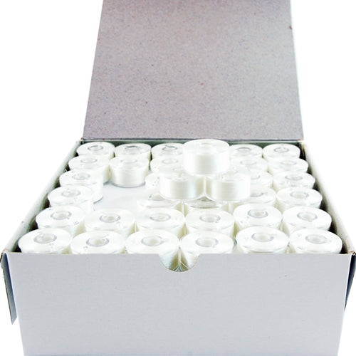 Prewound Embroidery Bobbins- 144 Count Per Box - White Plastic Sided - A Style - Threadart.com
