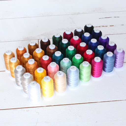 40 Cones of 500 Meters Polyester Machine Embroidery Thread - Essentials - Threadart.com