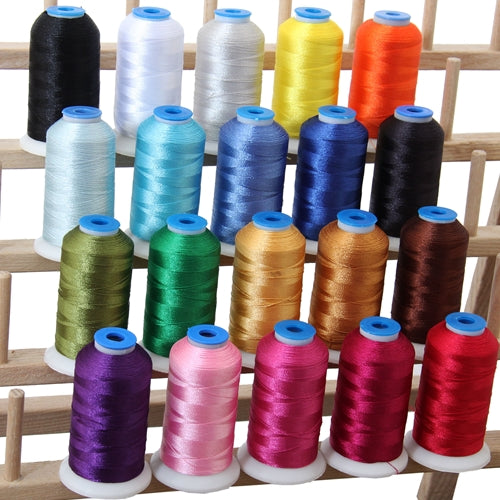 20 Colors of Polyester Embroidery Thread Set - Essential Colors - Threadart.com