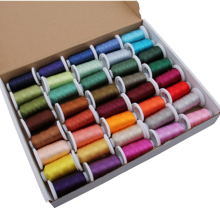40 Cones of 500 Meters Polyester Machine Embroidery Thread - Jewel Tones - Threadart.com