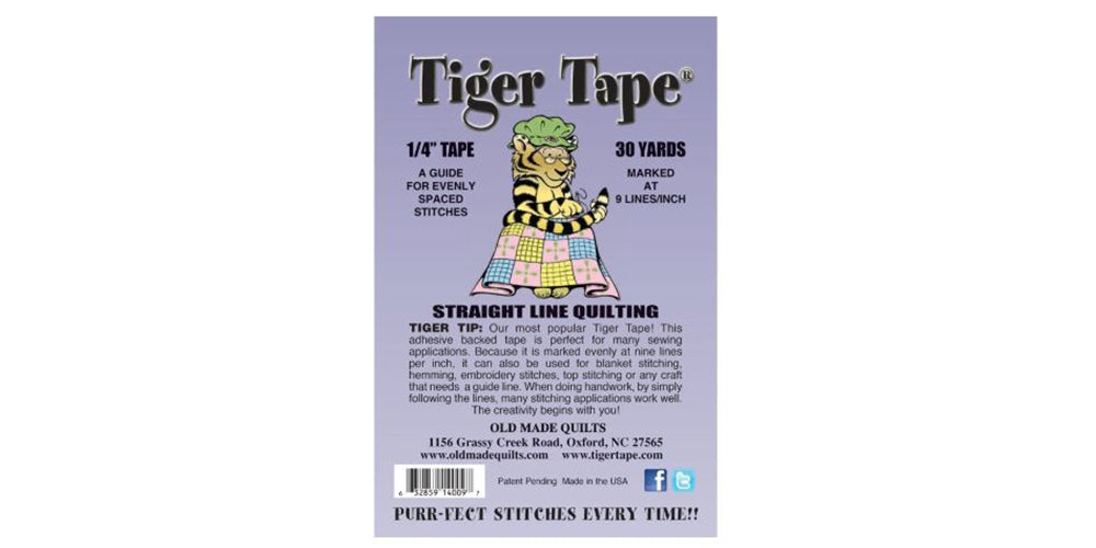 "Tiger Tape - 1/4"" x 30 Yards - 9 Marks Per Inch - Threadart.com"