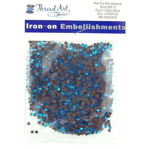 Hot Fix Rhinestones - SS10 - Capri Blue - 1440 stones - Threadart.com