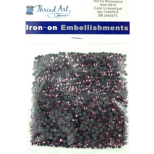 Hot Fix Rhinestones - SS10 - Lt. Amethyst - 1440 stones - Threadart.com