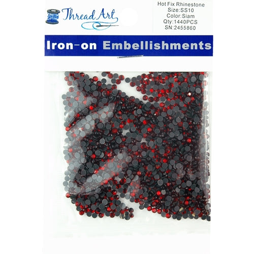 Hot Fix Rhinestones - SS10 - Siam - 1440 stones - Threadart.com