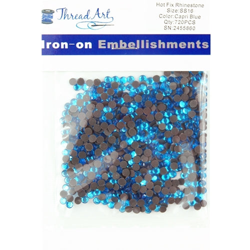 Hot Fix Rhinestones-ss16-Capri Blue - 720 stones - Threadart.com