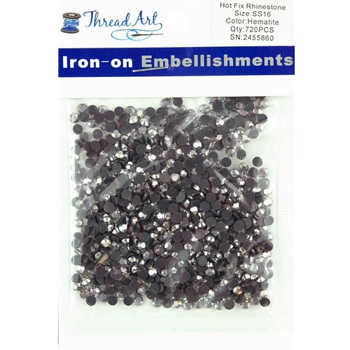 Hot Fix Rhinestones-ss16-Hematite - 720 stones - Threadart.com