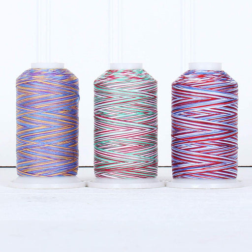 Cotton Variegated Thread Set - 3 Cone Collection of Multicolor Holiday Colors - Threadart.com