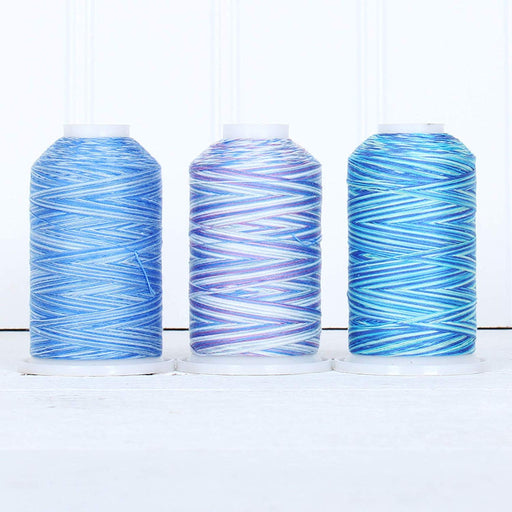 Cotton Variegated Thread Set - 3 Cone Collection of Multicolor Blue Shades - Threadart.com