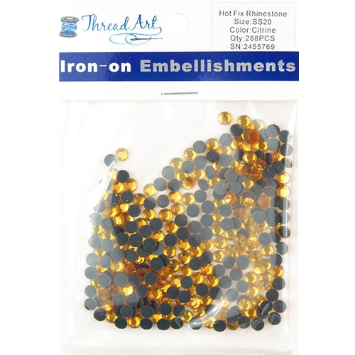 Hot Fix Rhinestones - SS20 - Citrine - 288 stones - Threadart.com