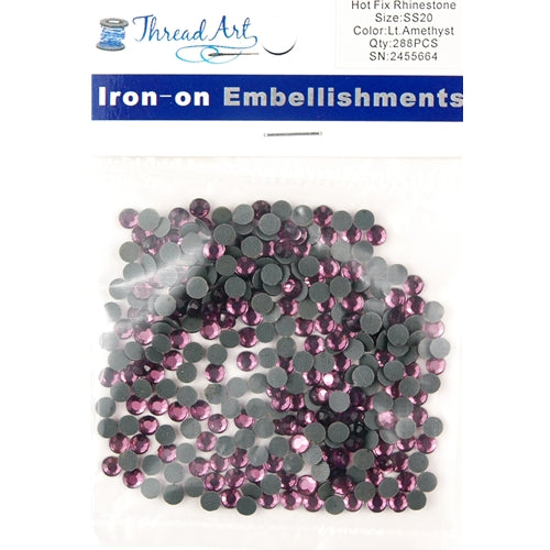 Hot Fix Rhinestones - SS20 - Lt. Amethyst - 288 stones - Threadart.com