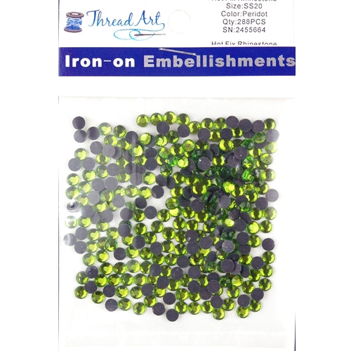 Hot Fix Rhinestones - SS20 - Peridot - 288 stones - Threadart.com