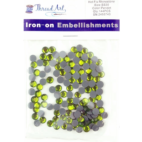Hot Fix Rhinestones - SS30 - Peridot - 144 stones - Threadart.com