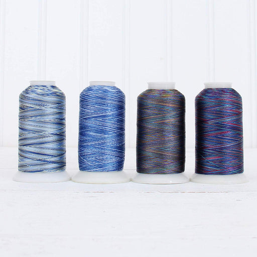Variegated MultiColor Polyester Embroidery Thread Set - 4 Blue Shades - Threadart.com