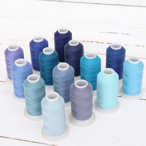 Polyester All-Purpose Sewing Thread 14 Cone Blue Shades Set - Threadart.com