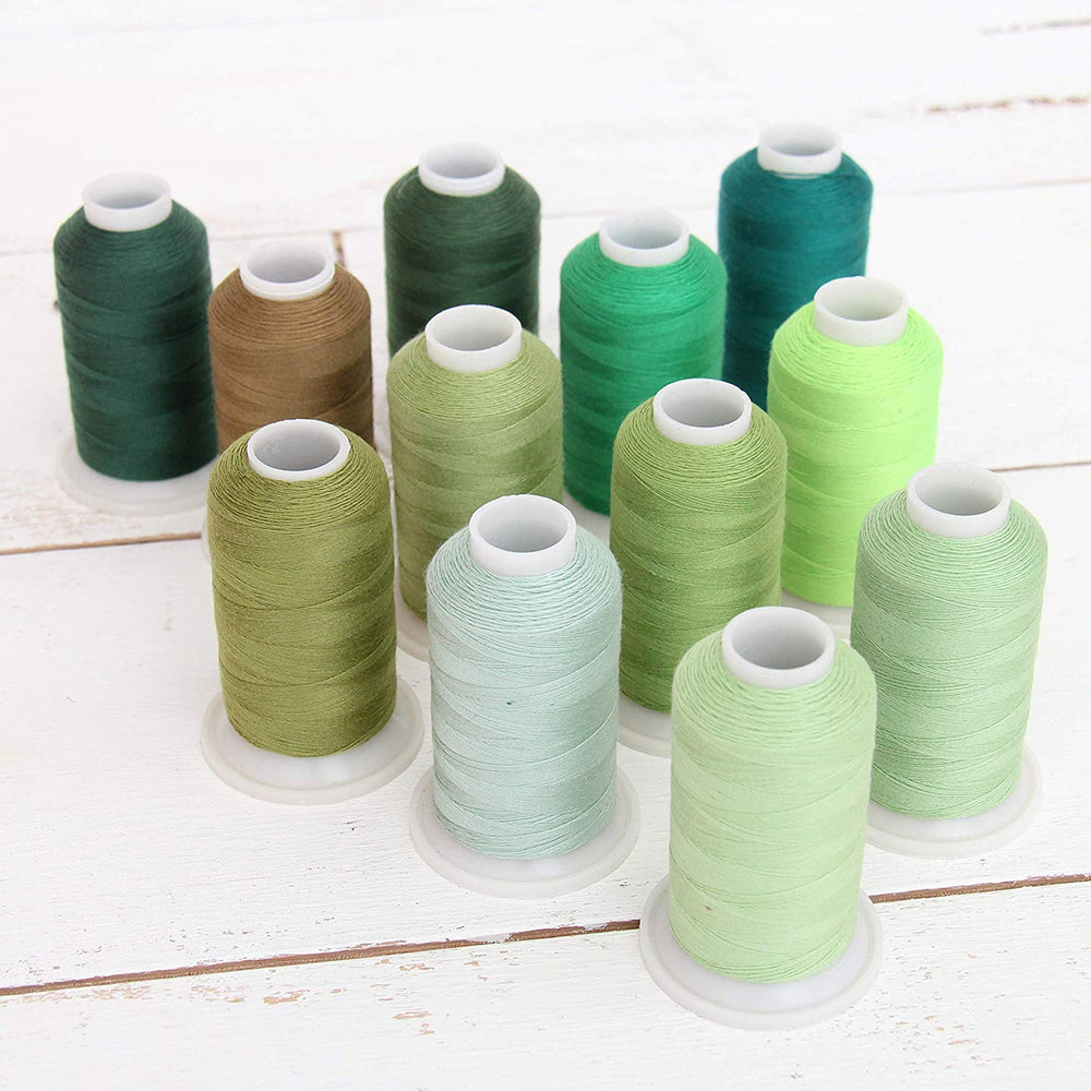 Polyester All-Purpose Sewing Thread 12 Cone Green Shades Set - Threadart.com
