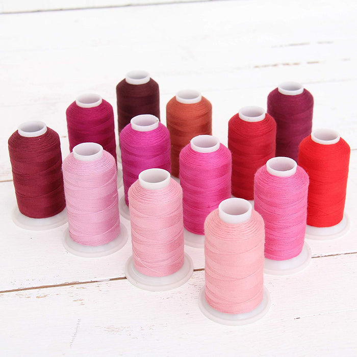 Polyester All-Purpose Sewing Thread 13 Cone Red/Pink Shades Set - Threadart.com