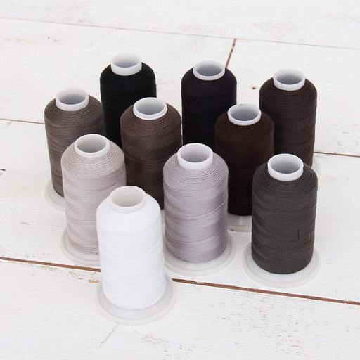 Polyester All-Purpose Sewing Thread 10 Cone Grey Shades Set - Threadart.com