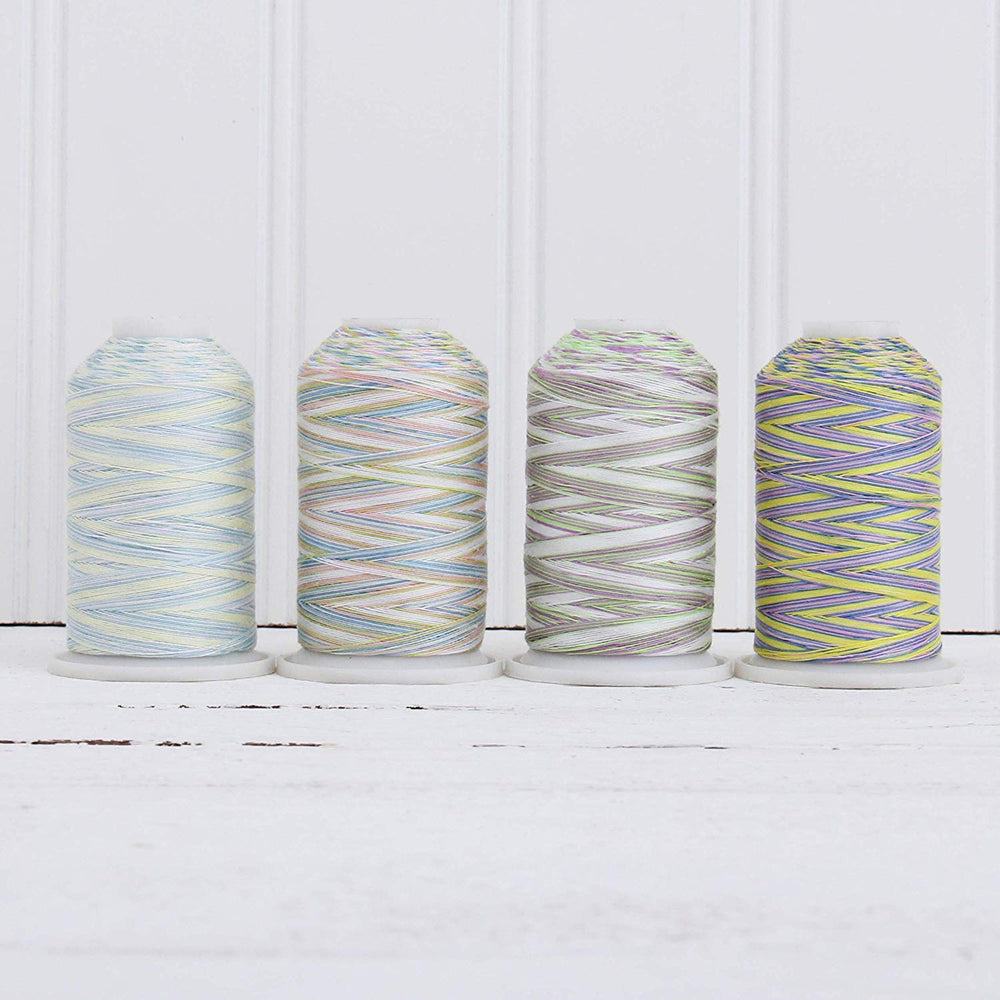 Cotton Variegated Thread Set - 4 Cone Collection of Multicolor Pastel Colors - Threadart.com