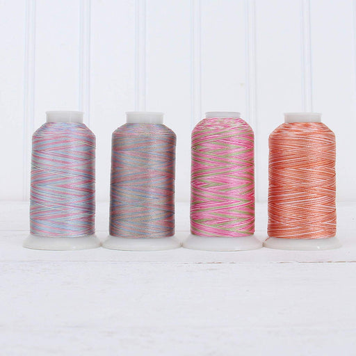 Variegated Multicolor Polyester Embroidery Thread Set - 4 Pastel Shades - Threadart.com