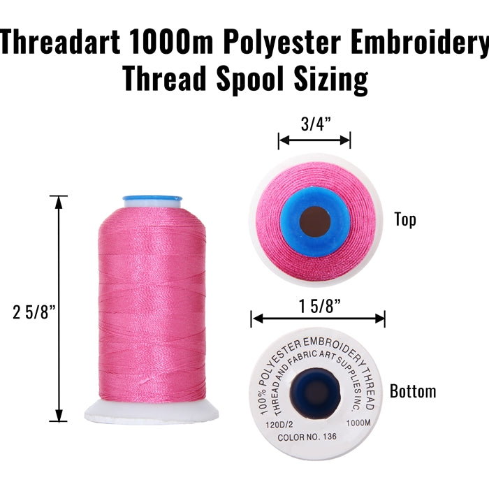 120 Colors of Polyester Embroidery Thread Set - 1000 Meters - Threadart.com
