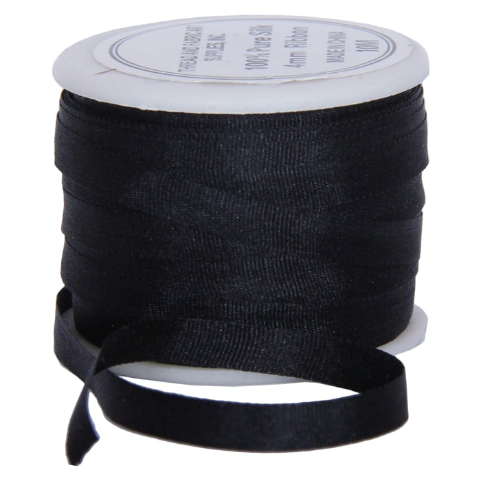 Silk Ribbon 4mm Black x 10 Meters No. 002 - Threadart.com